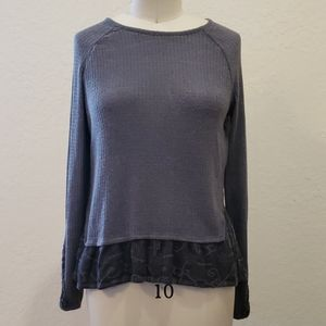 Victorian Inspired Thermal Top with Lace Trim